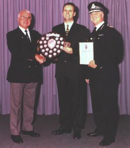 "Det.Con. Jeff Merrett of Exeter receiving my Charity Shield in 1999 for raising thousands of pounds for his charity ""Dream Away"" providing a ""wish come true"" for terminally ill children"